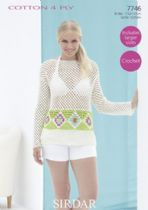 Sirdar Cotton 4ply - 7746 Top Crochet Pattern